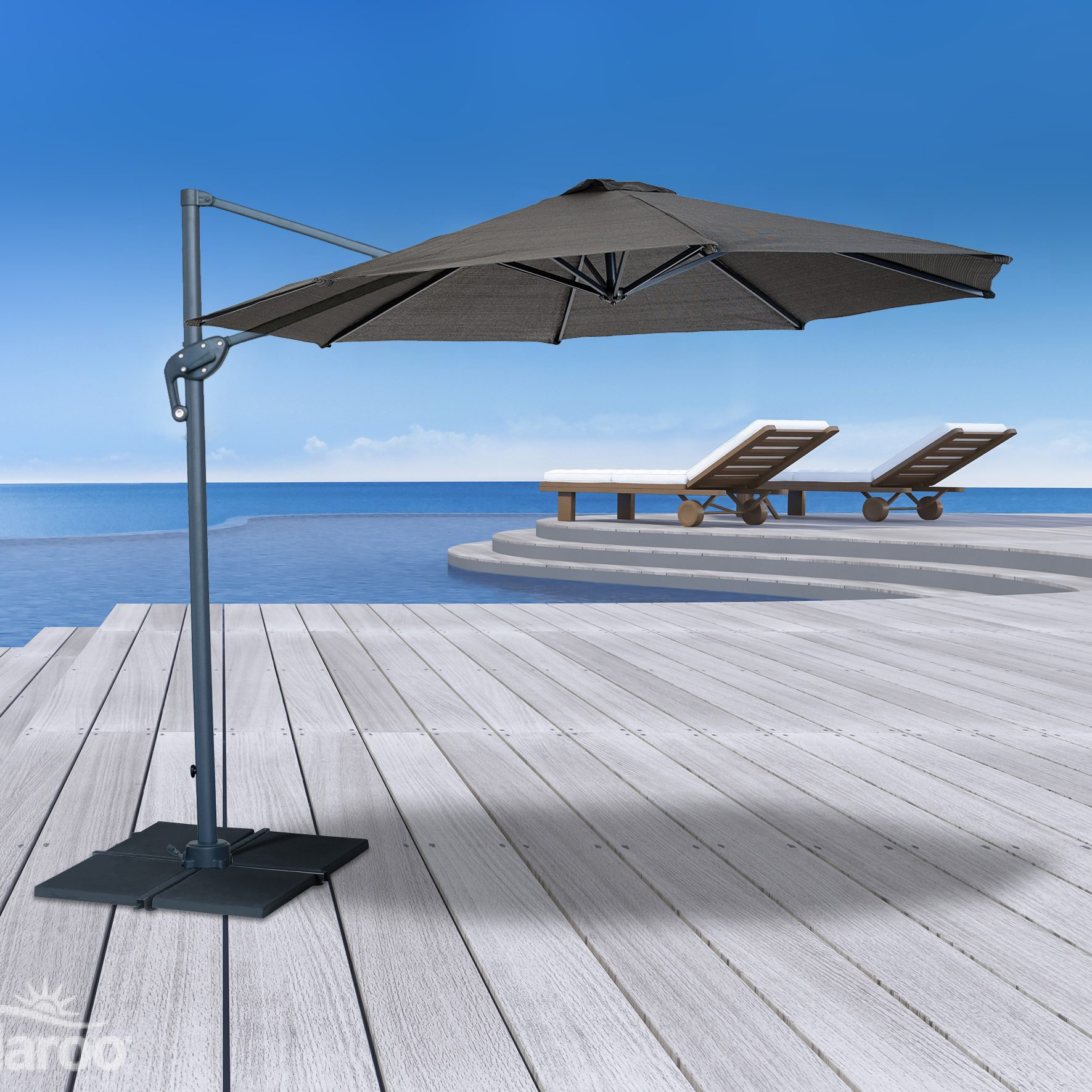 Refurbished 3m Round Cantilever Umbrella